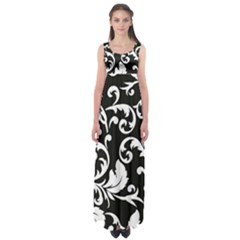 Vector Classicaltr Aditional Black And White Floral Patterns Empire Waist Maxi Dress