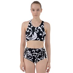 Vector Classicaltr Aditional Black And White Floral Patterns Bikini Swimsuit Spa Swimsuit
