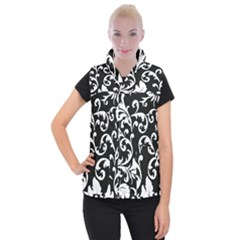 Vector Classicaltr Aditional Black And White Floral Patterns Women s Button Up Puffer Vest
