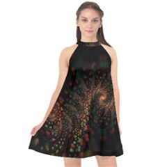 Multicolor Fractals Digital Art Design Halter Neckline Chiffon Dress