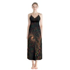 Multicolor Fractals Digital Art Design Button Up Chiffon Maxi Dress