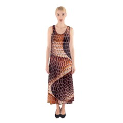 Snake Python Skin Pattern Sleeveless Maxi Dress