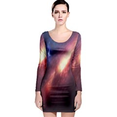 Digital Space Universe Long Sleeve Bodycon Dress by BangZart