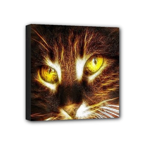 Cat Face Mini Canvas 4  X 4  by BangZart