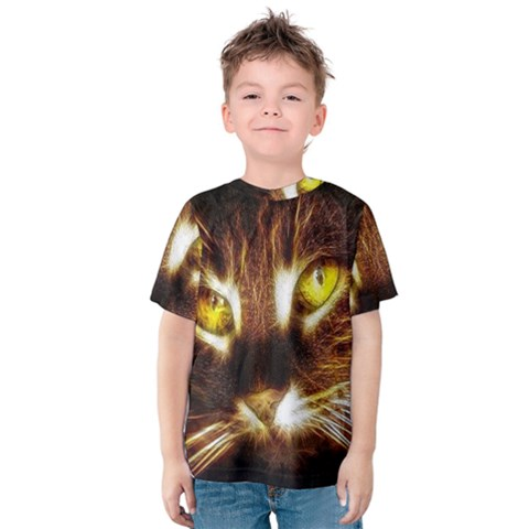 Cat Face Kids  Cotton Tee by BangZart