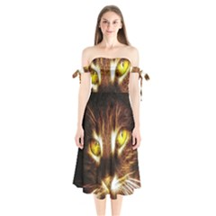 Cat Face Shoulder Tie Bardot Midi Dress
