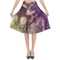 Cartoons Video Games Multicolor Flared Midi Skirt