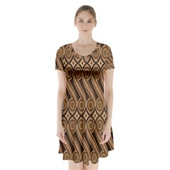 Batik The Traditional Fabric Short Sleeve V Neck Flare Dress