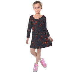 Volcanic Textures Kids  Long Sleeve Velvet Dress