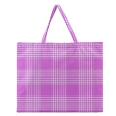 Seamless Tartan Pattern Zipper Large Tote Bag