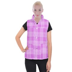 Seamless Tartan Pattern Women s Button Up Puffer Vest