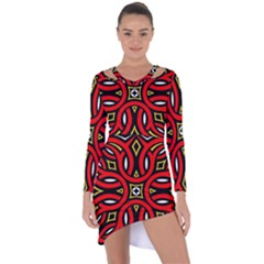 Traditional Art Pattern Asymmetric Cut Out Shift Dress