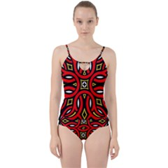 Traditional Art Pattern Cut Out Top Tankini Set