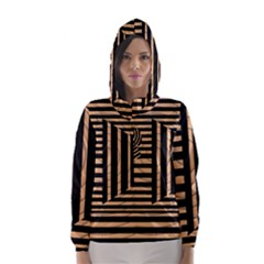 Wooden Pause Play Paws Abstract Oparton Line Roulette Spin Hooded Wind Breaker (women) by BangZart