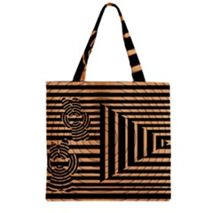 Wooden Pause Play Paws Abstract Oparton Line Roulette Spin Zipper Grocery Tote Bag by BangZart