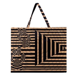 Wooden Pause Play Paws Abstract Oparton Line Roulette Spin Zipper Large Tote Bag by BangZart