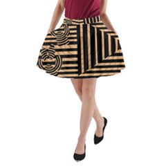 Wooden Pause Play Paws Abstract Oparton Line Roulette Spin A Line Pocket Skirt by BangZart