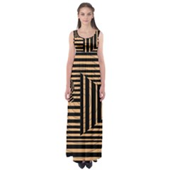 Wooden Pause Play Paws Abstract Oparton Line Roulette Spin Empire Waist Maxi Dress