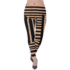 Wooden Pause Play Paws Abstract Oparton Line Roulette Spin Velvet Leggings