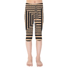 Wooden Pause Play Paws Abstract Oparton Line Roulette Spin Kids  Capri Leggings