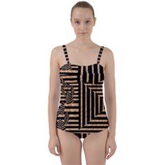 Wooden Pause Play Paws Abstract Oparton Line Roulette Spin Twist Front Tankini Set by BangZart