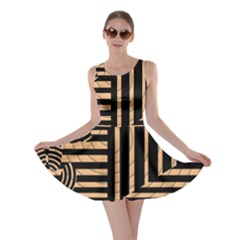 Wooden Pause Play Paws Abstract Oparton Line Roulette Spin Skater Dress by BangZart