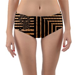 Wooden Pause Play Paws Abstract Oparton Line Roulette Spin Reversible Mid Waist Bikini Bottoms by BangZart