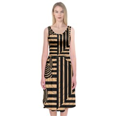 Wooden Pause Play Paws Abstract Oparton Line Roulette Spin Midi Sleeveless Dress