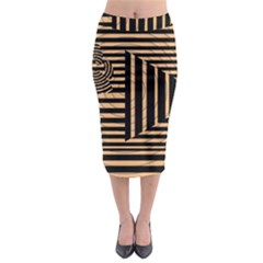 Wooden Pause Play Paws Abstract Oparton Line Roulette Spin Midi Pencil Skirt by BangZart