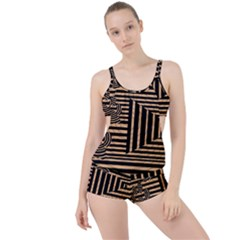 Wooden Pause Play Paws Abstract Oparton Line Roulette Spin Boyleg Tankini Set  by BangZart
