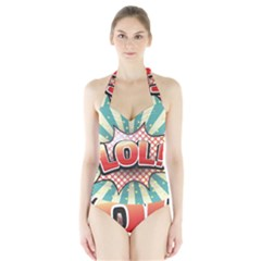 Lol Comic Speech Bubble  Vector Illustration Halter Swimsuit