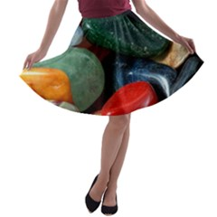 Stones Colors Pattern Pebbles Macro Rocks A Line Skater Skirt