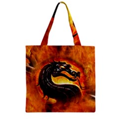 Dragon And Fire Zipper Grocery Tote Bag