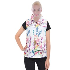 Butterfly Vector Art Women s Button Up Puffer Vest