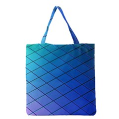 Blue Pattern Plain Cartoon Grocery Tote Bag