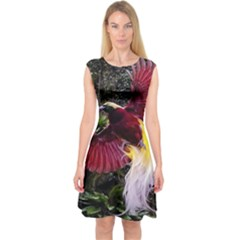 Cendrawasih Beautiful Bird Of Paradise Capsleeve Midi Dress
