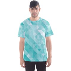 Bright Blue Turquoise Polygonal Background Men s Sports Mesh Tee by TastefulDesigns