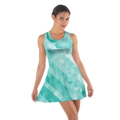 Bright Blue Turquoise Polygonal Background Cotton Racerback Dress