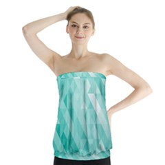 Bright Blue Turquoise Polygonal Background Strapless Top