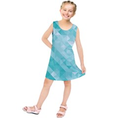 Bright Blue Turquoise Polygonal Background Kids  Tunic Dress