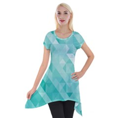 Bright Blue Turquoise Polygonal Background Short Sleeve Side Drop Tunic