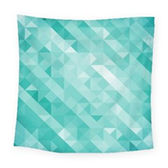 Bright Blue Turquoise Polygonal Background Square Tapestry (large) by TastefulDesigns