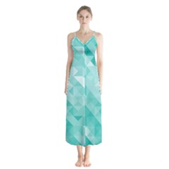 Bright Blue Turquoise Polygonal Background Button Up Chiffon Maxi Dress