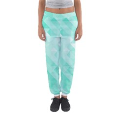 Bright Green Turquoise Geometric Background Women s Jogger Sweatpants by TastefulDesigns
