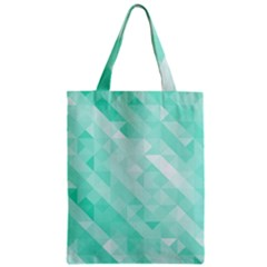 Bright Green Turquoise Geometric Background Zipper Classic Tote Bag by TastefulDesigns