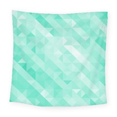 Bright Green Turquoise Geometric Background Square Tapestry (large) by TastefulDesigns