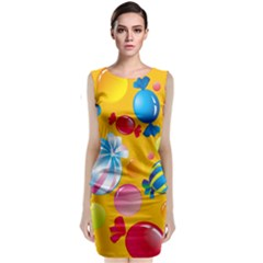 Sweets And Sugar Candies Vector  Sleeveless Velvet Midi Dress