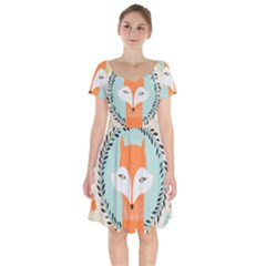 Foxy Fox Canvas Art Print Traditional Short Sleeve Bardot Dress