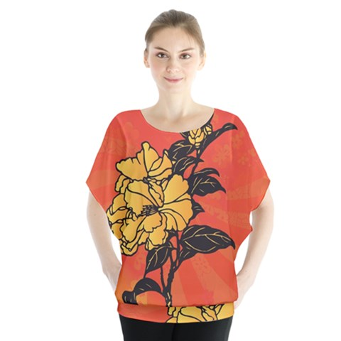Vector Asian Flowers Blouse by BangZart