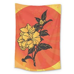 Vector Asian Flowers Large Tapestry